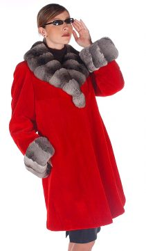 natural chinchilla trimmed-women's red sheared mink jacket