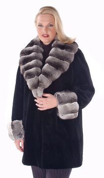 genuine sheared mink fur jacket with chinchilla trimmed-plus size