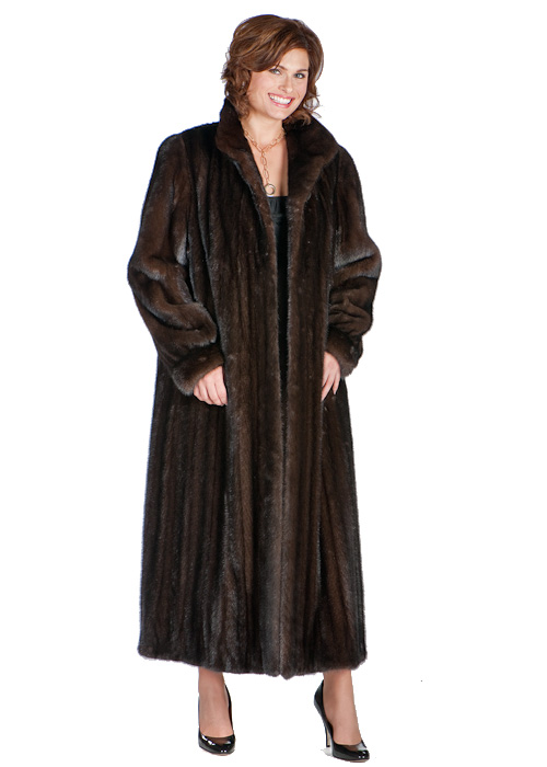 real mahogany mink fur coat-classic wing collar-female mink plus