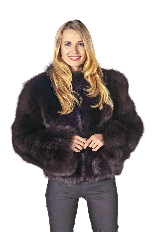 fox jacket-short-fox fur jacket-mahogany jacket-zippered