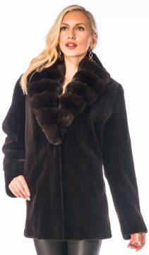 real sheared mink fur jacket-dark brown-chinchilla collar