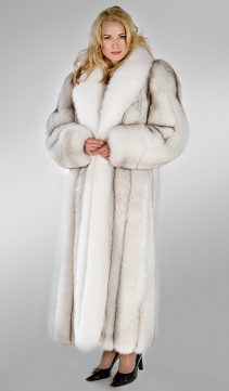 fox coat-fox fur coat-natural fur-white-long fox fur coat