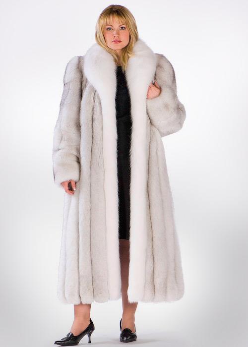 Plus Size Natural Blue Fox Fur Coat, White Fox Fur Coat Collar