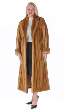 mink coat for ladies-real golden female shawl collar-plus size