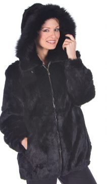 black natural hooded fur parka-real rabbit fur jacket-detachable hood