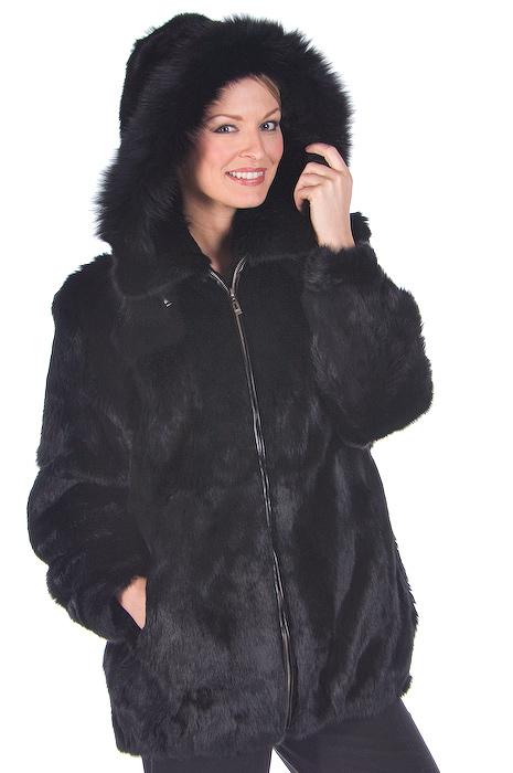 black natural hooded fur parka-real rabbit fur jacket-detachable hood