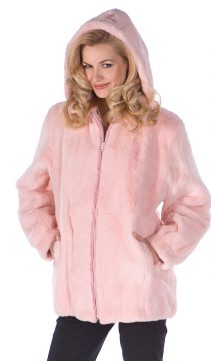 real pink hooded fur parka-natural rabbit fur hooded jacket-detachable hood