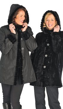 black natural sheared mink jacket-reversible hood