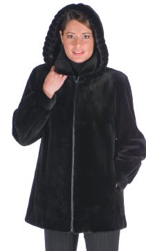women's real sheared mink fur jacket-detachable hood