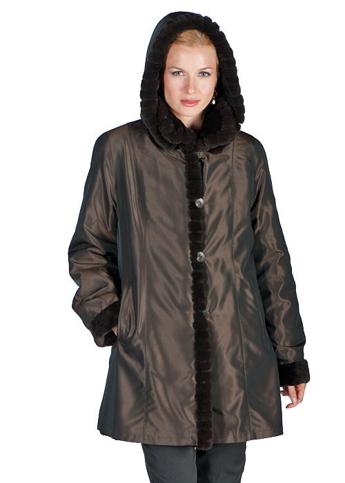 sheared mink fur jacket- natural mahogany-sculptured