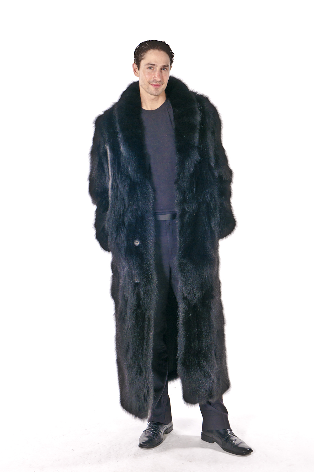 dfd6c6cb5f Mens Fox Coat – Black Sculptured Fox | Madison Avenue Mall Furs ...