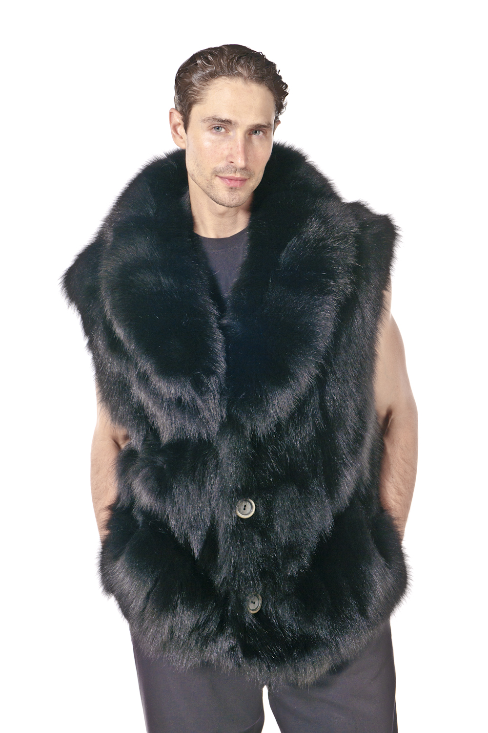 fox fur vest-mens fur vest-natural fur vest-genuine fox fur vest