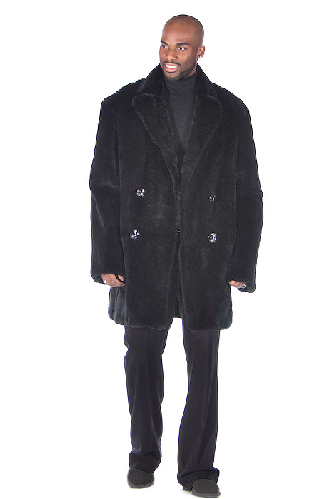 black genuine fur car coat-ranch rabbit-black rabbit car coat