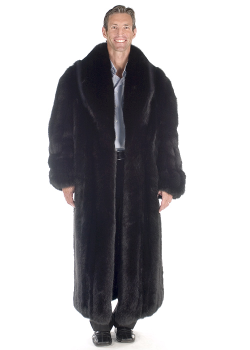 fox fur coat for men-men's real fur coat-black fox fur coat