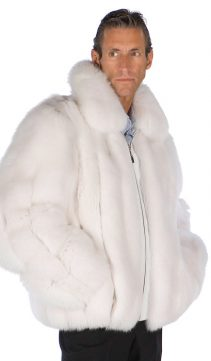 fox fur jacket-real fox jacket-fox trim jacket-natural white fur