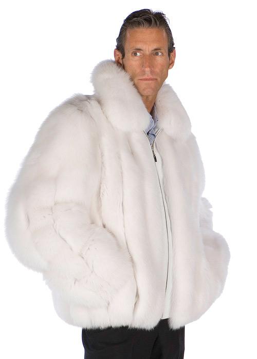 Madison Ave Mall Mens Natural White Fox Fur Jacket Coat Large | eBay