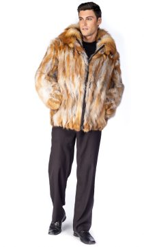 fur jacket for men-natural fox fur jacket-red fox fur-detachable hood