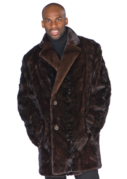 sculptured mahogany natural mink fur jacket-car coat for men