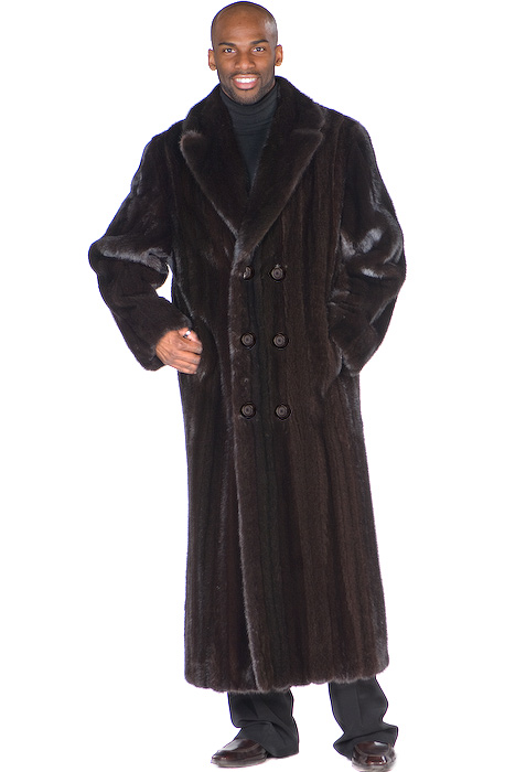 Mens Ranch Mink Coat – Double Breasted Black Mink | Madison Avenue ...