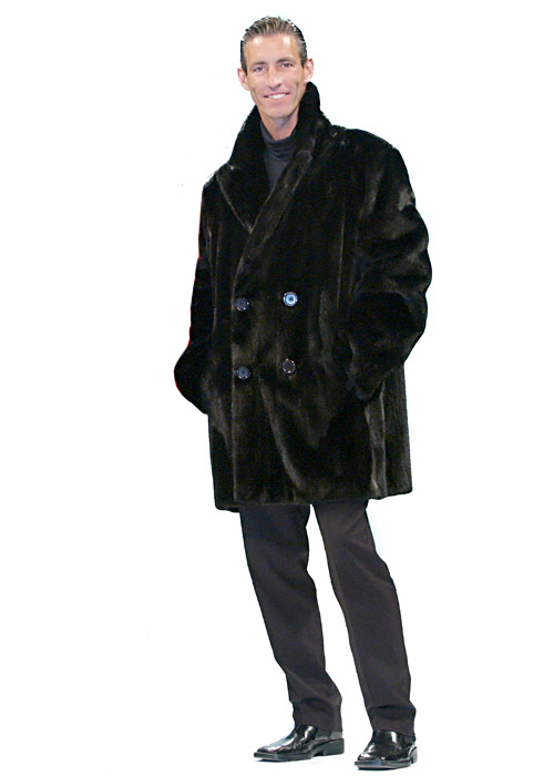 Mens Ranch Mink Double Breasted Car Coat Jacket | Madison Avenue ...