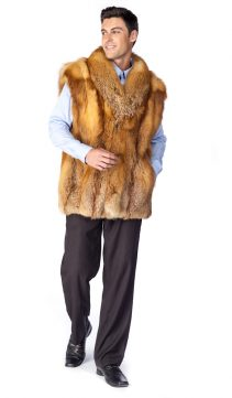 fox vest-fox fur vest-fur vest fox-natural red fox fur