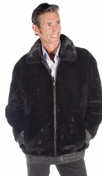 genuine sheared mink fur real jacket for me-genuine leather reversible jacket
