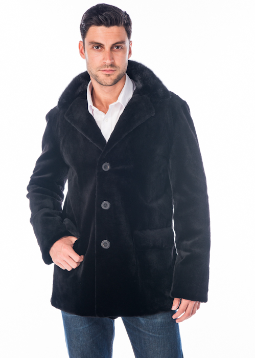 men's real mink fur sheared jacket-blazer-notch collar