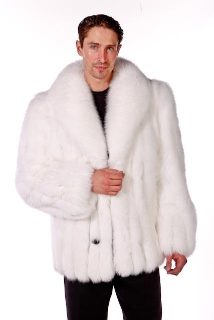 Mens White Fox Jacket Shawl Collar, White Fox Fur Coat Collar