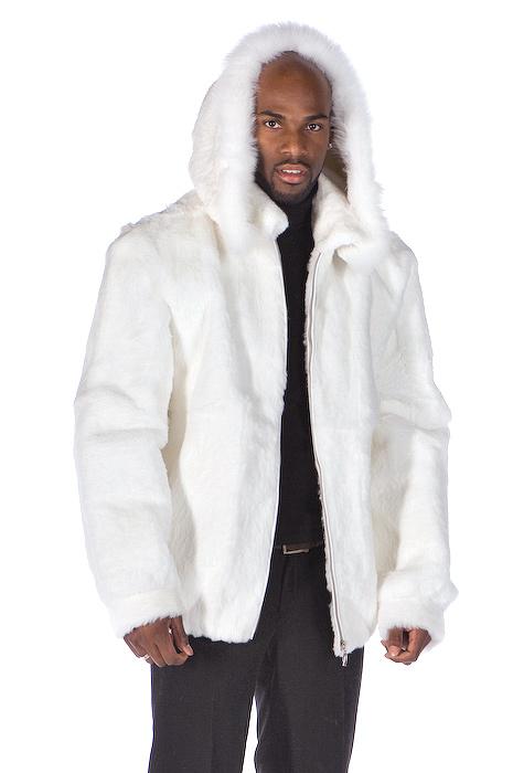 Mens White Fur Zippered Jacket Detachable Hood | Madison Avenue ...
