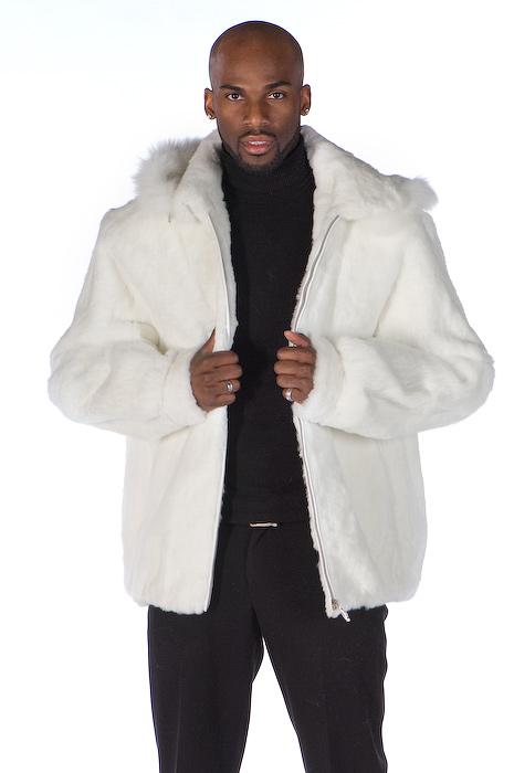 03eb21e2c623 ... Mens White Fur Zippered Jacket Detachable Hood. Sale! Enlarge Photo.  Enlarge Photo