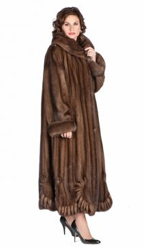 real mink fur coat-natural-Scalloped-hem soft brown-Plus size