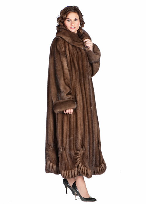 real mink fur coat-natural-Scalloped-hem soft brown-Plus size