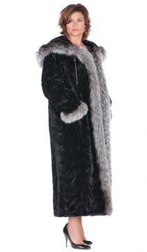 full length-natural mink fur coat-real silver fox trim-sculptured