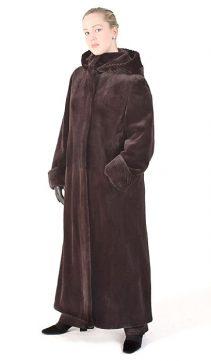 real mink fur sheared coat-full length-mahogany