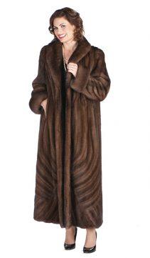 real mink fur coat long-soft brown-brushstrokes design-plus size