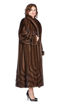 women's mink fur real coat-soft brown-cathedral penals-plus size