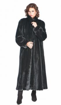 genuine mink fur coat-ranch classic wing collar plus size