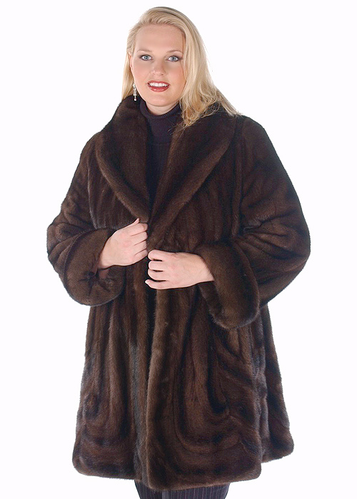mahogany mink jacket-plus size mink jacket-wave design