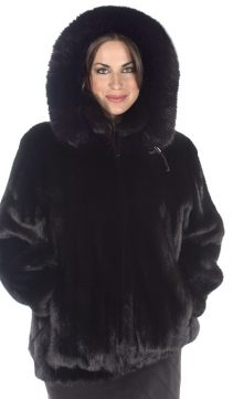 plus size mink fur jacket-genuine ranch mink-detachable hood