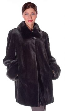 natural real mink fur sheared jacket for women-collar and cuffs