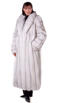 natural fox fur coat-blue fox fur-white-shawl