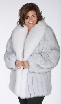 genuine fox fur jackets-natural white blue fox fur jackets-women's fox jacket plus size