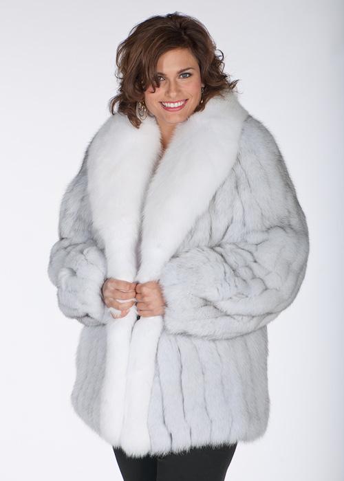 Natural White Blue Fox Fur Jacket- Plus Size – 29 | Madison Avenue ...
