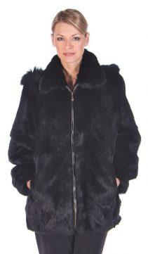 genuine rabbit fur jacket-plus size-natural rabbit fur jacket parka-detachable hood