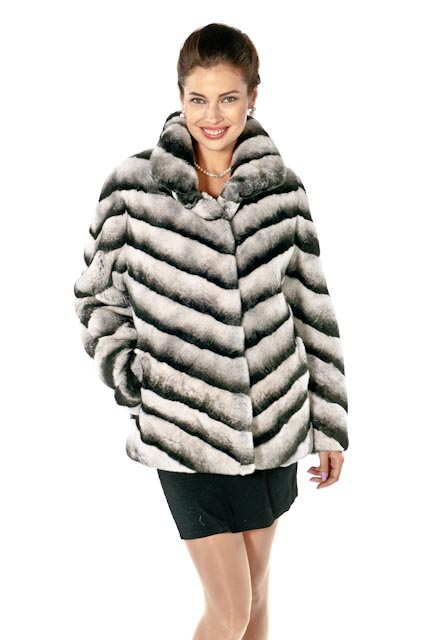 rex rabbit chinchilla jacket-rex rabbit fur jacket-plus size