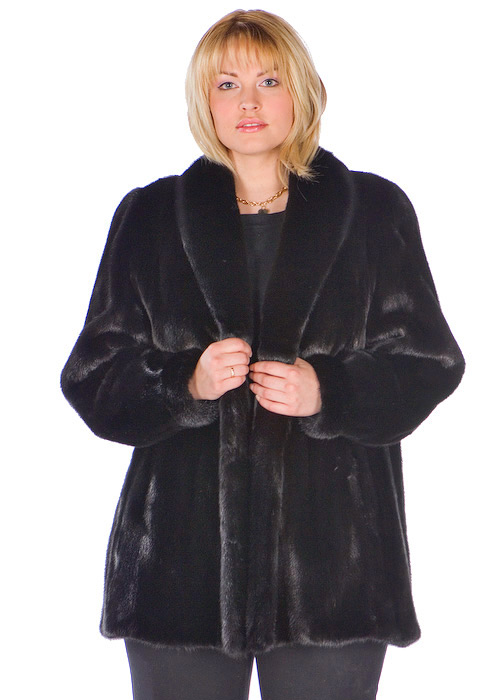 genuine mink fur jacket coat-plus size-ranch shawl collar