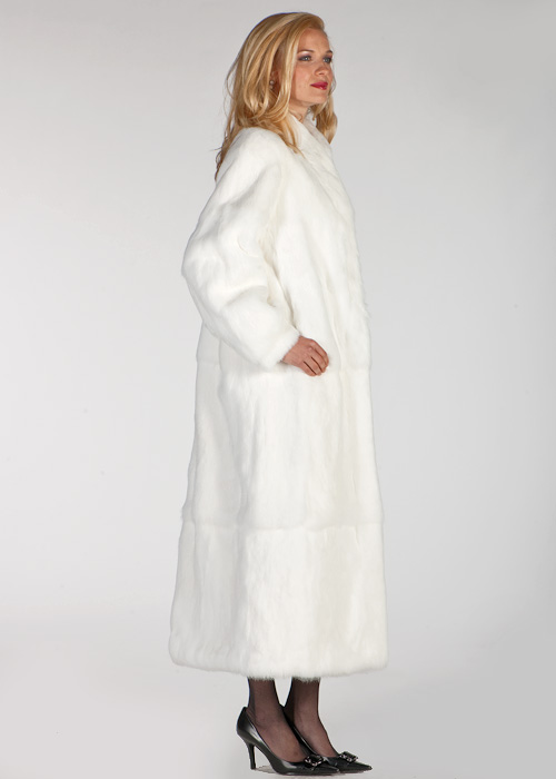 genuine rabbit fur fur coat-full length white rabbit fur coat