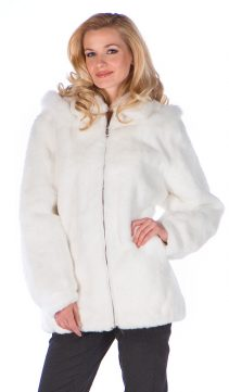 genuine natural white rabbit fur jacket parka-real rabbit fur parka-detachable hood