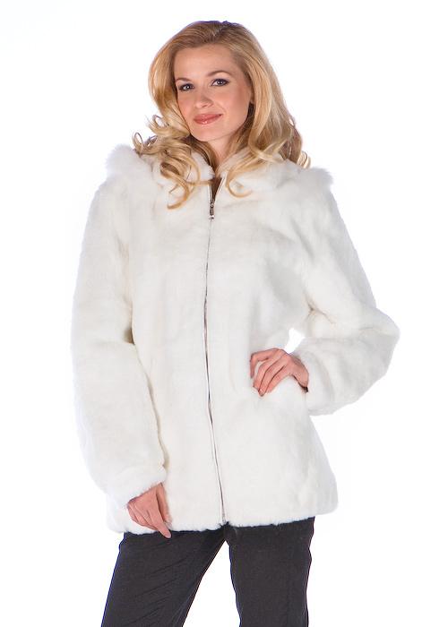 genuine natural white rabbit fur jacket parka-real rabbit fur parka-detachable hood