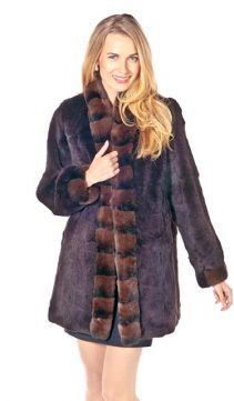 rex rabbit fur jacket real-natural chinchilla trim-mandarin-reversible-chestnut